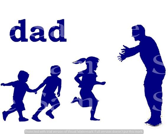 Blue Dad & Kids Silhouette Birthday ~ Edible 2D Fondant Birthday Cake/Cupcake Topper ~ D24611