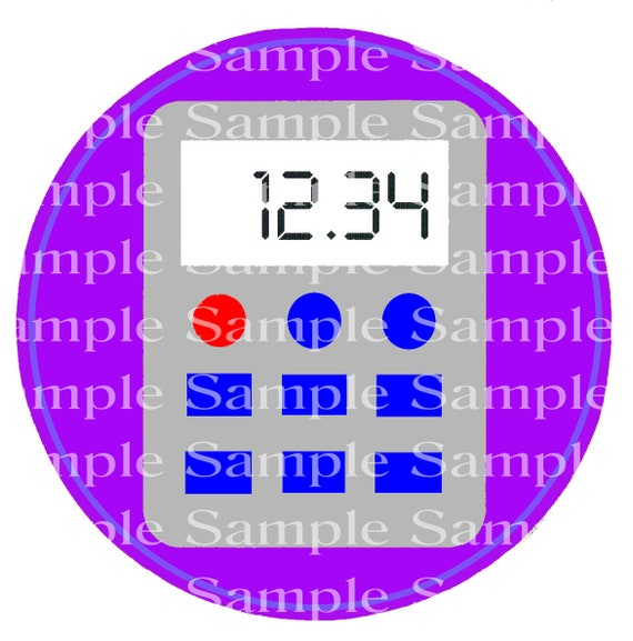 Purple Back to School Calculator Birthday - Edible Cake and Cupcake Topper For Birthdays and Parties! - D24240