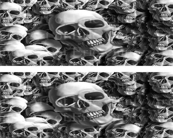 Black & White Halloween Skulls - Side Strips - Edible Cake Side Toppers- Decorate The Sides of Your Cake! - D22387