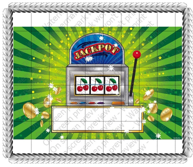 Casino Slot Machine Gambling Birthday Edible 2d Fondant