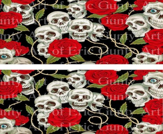 Halloween Skulls & Roses Birthday ~ Edible 2D Fondant Birthday Cake Side Toppers ~ D24160