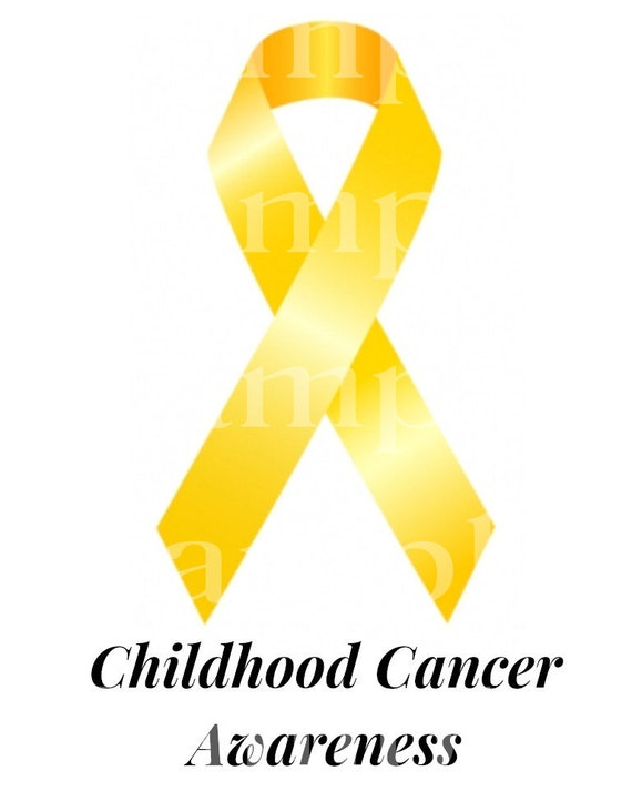 Gold Childhood Cancer Awareness Ribbon ~ Edible 2D Fondant Birthday Cake/Cupcake Topper ~ D24507