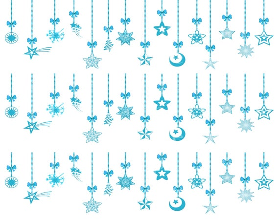 Blue Merry Christmas Ornaments - Edible Cake Side Toppers- Decorate The Sides of Your Cake! - D24214
