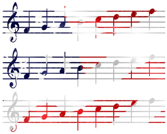 Patriotic Sheet Music Band Notes Birthday - Side Strips ~ Edible 2D Fondant Birthday Cake Side Toppers ~ D22684