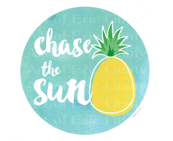 Chase the Sun Pineapple Summer ~ Edible 2D Fondant Birthday Cake/Cupcake Topper ~ D22223