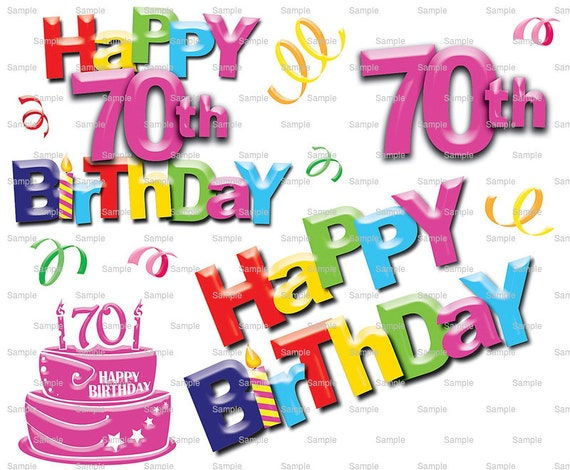 Happy 70th Birthday Party - Edible Cake and Cupcake Topper For Birthday's and Parties! - D6001
