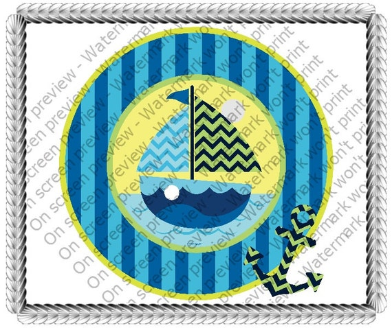 Blue Sailboat Birthday Baby Shower - Edible Cake and Cupcake Topper For Birthday's and Parties! - D640