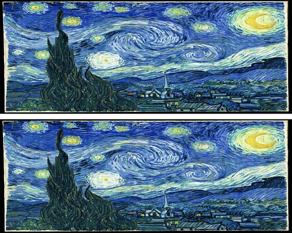 Vincent Van Gogh Starry Night Birthday - Side Strips ~ Edible 2D Fondant Birthday Cake Side Toppers ~ D24655