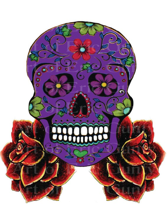 Purple Sugar Skull & Roses Halloween Birthday - Edible Cake and Cupcake Topper For Birthday's and Parties! - D22655