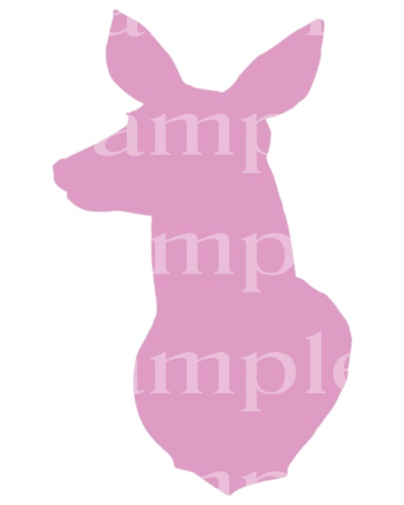 Pink Doe Deer Head Hunting Birthday - Edible 2D Fondant Cake & Cupcake Topper For Birthdays and Parties! - D24467