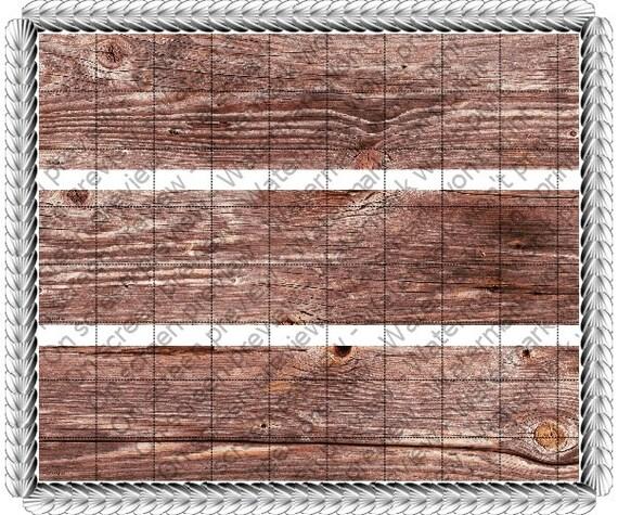 Wood Grain Birthday Side Strips ~ Edible 2D Fondant Birthday Cake Side Toppers ~ D241