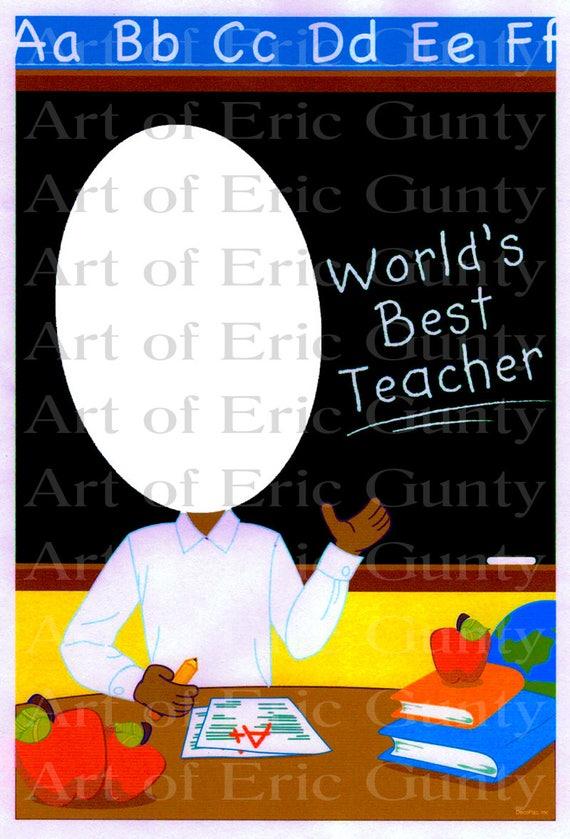 African American Teacher ~ Edible 2D Fondant Birthday Photo Frame Cake/Cupcake Topper ~ D22546