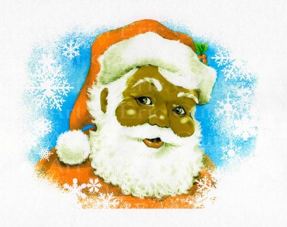 African American Santa Traditional Christmas ~ Edible 2D Fondant Birthday Cake/Cupcake Topper ~ D22536