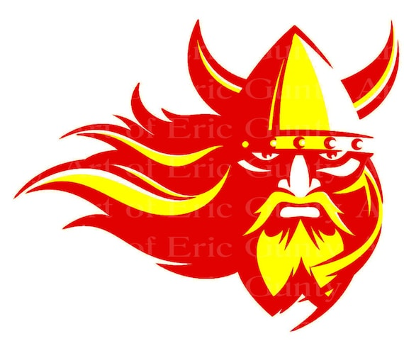 Red & Yellow Viking Mascot Birthday ~ Edible 2D Fondant Birthday Cake/Cupcake Topper ~ D22484