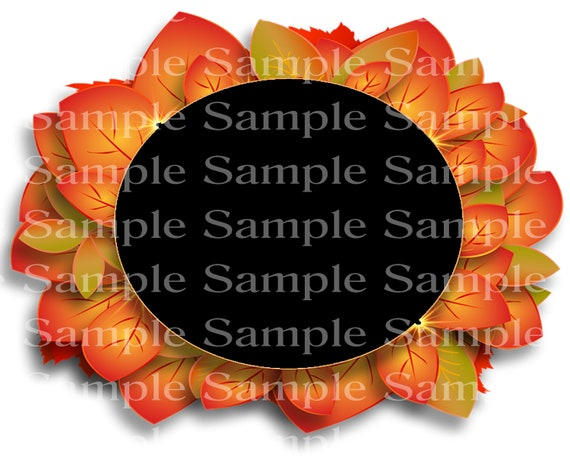 Fall Thanksgiving Leaves Oval Birthday - Edible Cake and Cupcake Photo Frame For Birthdays and Parties! - D24189
