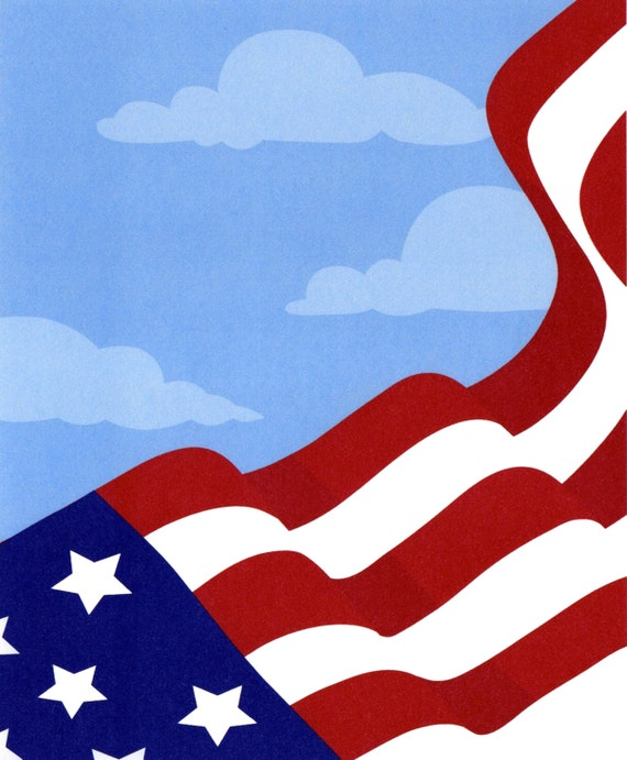 US Flag Background Birthday Topper - Edible Cake and Cupcake Topper For Birthday's and Parties! - D2268