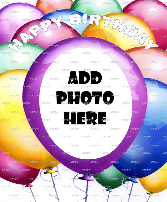 Happy Birthday Balloons - Edible Cake and Cupcake Photo Frame For Birthday's and Parties! - D4391