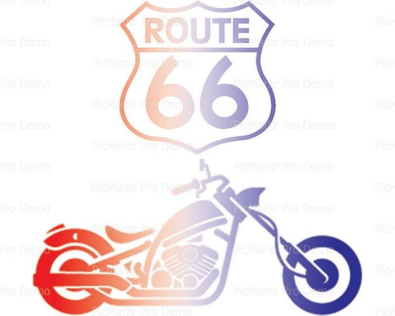 Route 66 Motorcycle - Edible Cake and Cupcake Topper For Birthday's and Parties! - D21694