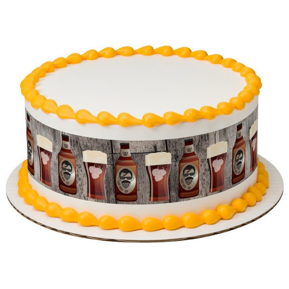 Beer & Beards Father's Birthday - Edible Cake Side Toppers- Decorate The Sides of Your Cake! - D24101
