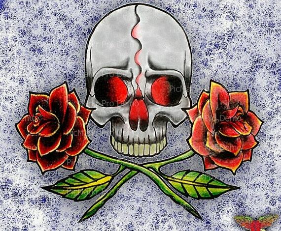 Skull and Roses Halloween ~ Edible 2D Fondant Birthday Cake/Cupcake Topper ~ D5847