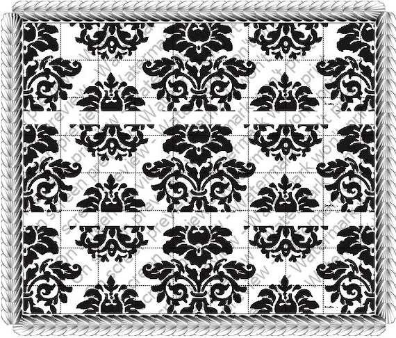 Damask - Birthday Background - Side Strips ~ Edible 2D Fondant Birthday Cake Side Toppers ~ D529