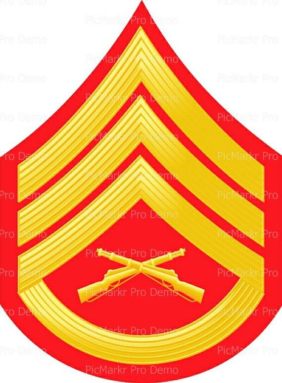 Marine Sargent Military Insignia Birthday ~ Edible 2D Fondant Birthday Cake/Cupcake Topper ~ D20488