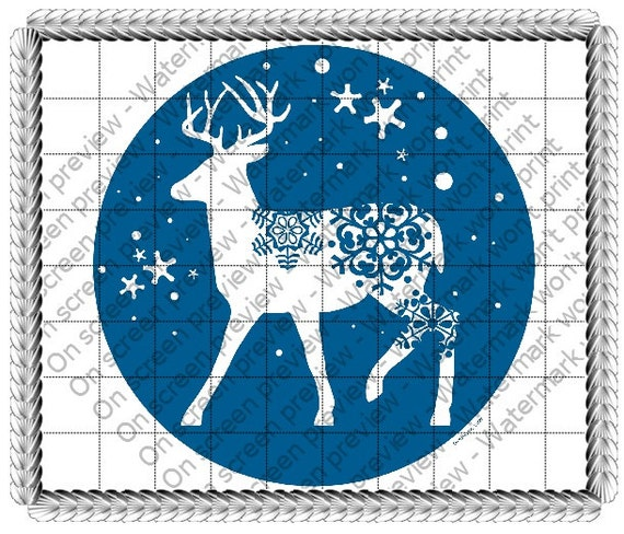 Reindeer Snow Christmas - Edible Cake and Cupcake Topper For Birthday's and Parties! - D19178