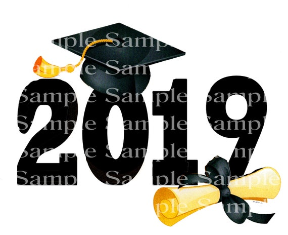 2019 Graduation Cap and Diploma - 2D Fondant Edible Cake & Cupcake Topper For Birthdays and Parties! - D24340