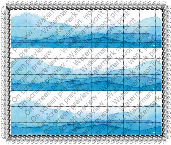Watercolor Waves - Birthday Background - Side Strips ~ Edible 2D Fondant Birthday Cake Side Toppers ~ D1484