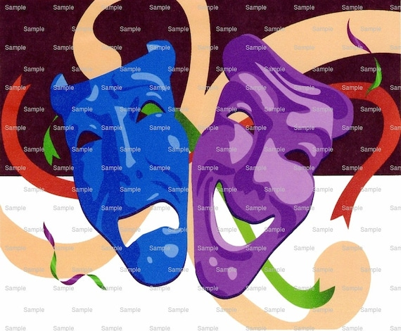 Theater Masks Cake Background - Edible Cake and Cupcake Topper For Birthday's and Parties! - D3065