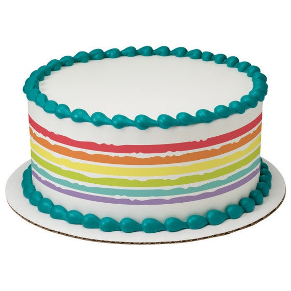 Rainbow Paint Birthday - Edible Cake Side Toppers- Decorate The Sides of Your Cake! - D24107