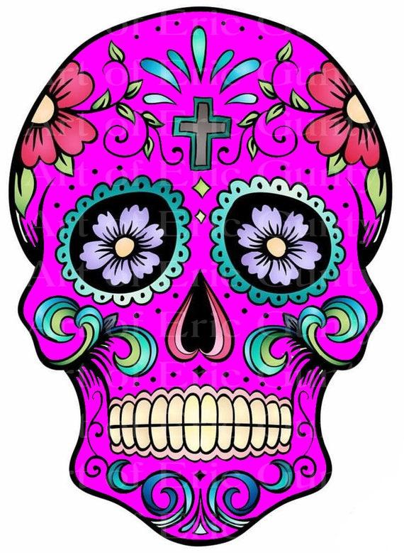 Pink Sugar Skull Halloween Birthday ~ Edible 2D Fondant Birthday Cake/Cupcake Topper ~ D22661
