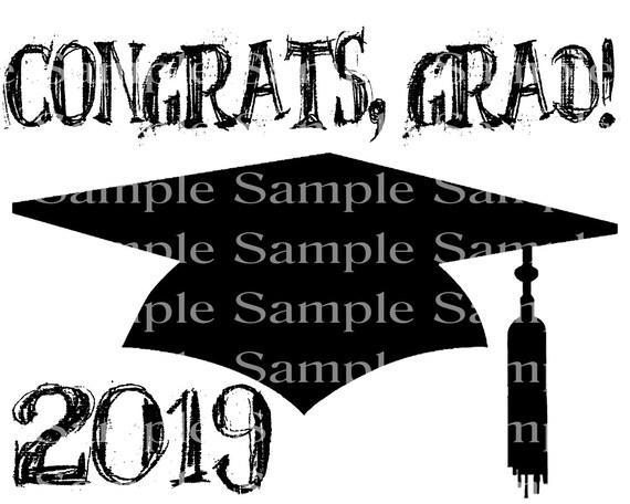 Congrats Grad 2019 Graduation Cap - 2D Fondant Edible Cake & Cupcake Topper For Birthdays and Parties! - D24294