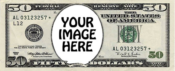 50 Dollar Bill Poker Casino Birthday - Edible Cake and Cupcake Photo Frame For Birthdays and Parties! - D24291