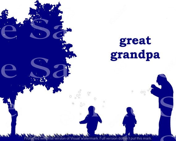 Blue Great Grandpa & Grand Kids Silhouette Birthday ~ Edible 2D Fondant Birthday Cake/Cupcake Topper ~ D24619