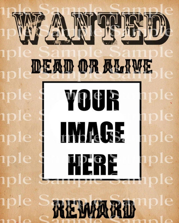 Wild West Wanted Poster Birthday - 2D Edible Fondant Cake & Cupcake Photo Frame For Birthdays and Parties! - D24312