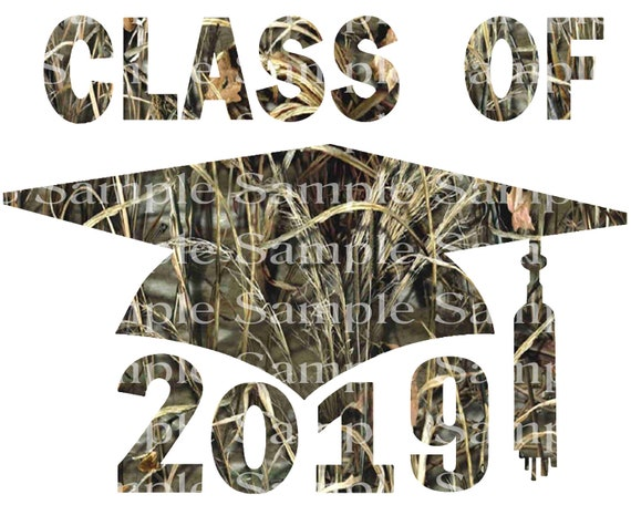 Class of 2019 Hunting Camo Graduation Cap - 2D Fondant Edible Cake & Cupcake Topper For Birthdays and Parties! - D24248