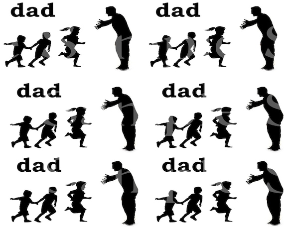Dad Silhouette Birthday - Side Strips - 2D Edible Fondant Cake Side Toppers - Decorate The Sides of Your Cake! - D24164