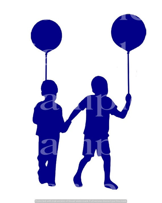 Blue Kids Playing Silhouette Birthday ~ Edible 2D Fondant Birthday Cake/Cupcake Topper ~ D24623