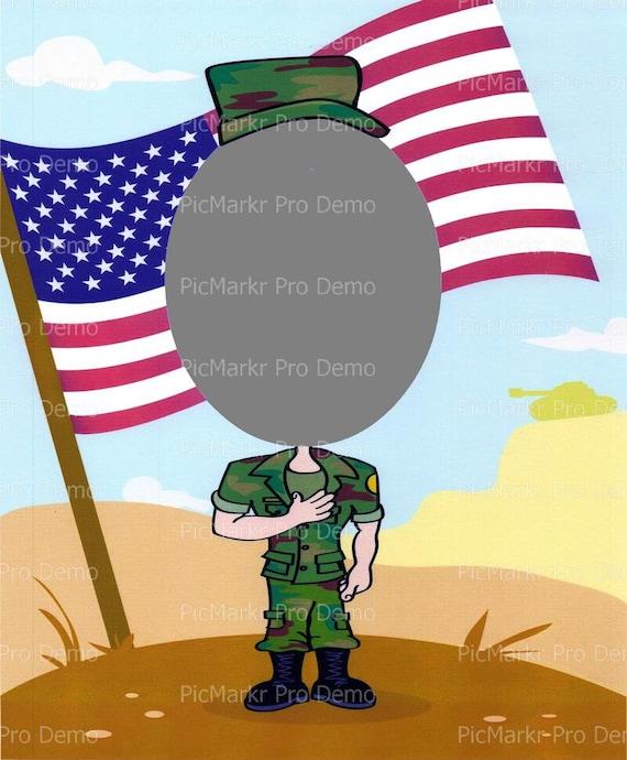 Military Photo Frame ~ Edible 2D Fondant Birthday Cake/Cupcake Topper ~ D4693