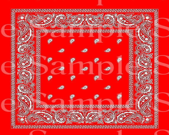 Red Paisley Bandana Birthday ~ Edible 2D Fondant Birthday Cake/Cupcake Topper ~ D24490