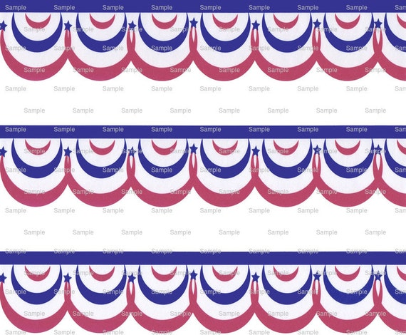 Red White and Blue - Birthday Background - Side Strips ~ Edible 2D Fondant Birthday Cake Side Toppers ~ D2942