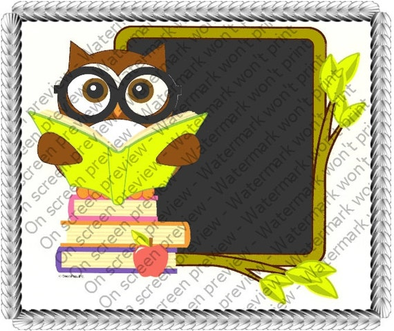 School Owl Birthday - Edible Cake and Cupcake Topper For Birthday's and Parties! - D1404