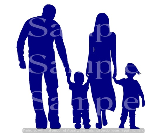 Blue Family Silhouette Birthday ~ Edible 2D Fondant Birthday Cake/Cupcake Topper ~ D24615