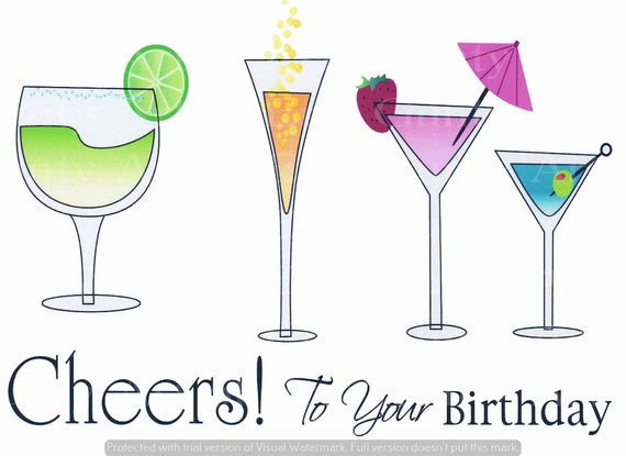Alcohol Cheers It's Your Birthday - Edible Cake and Cupcake Topper For Birthdays and Parties! - D2168