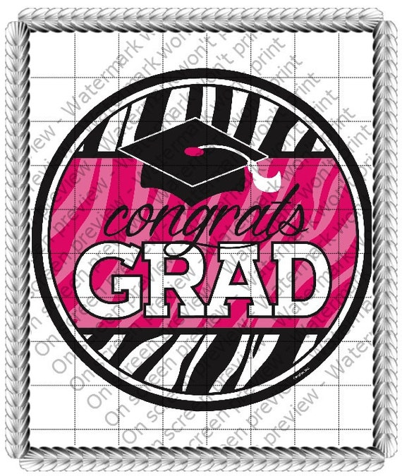 Pink Congrats Grad Graduation - Edible Cake and Cupcake Topper For Birthday's and Parties! - D20668