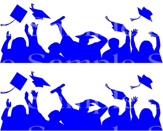 Blue Graduation Party Side Strips ~ Edible 2D Fondant Birthday Cake Side Toppers ~ D24555