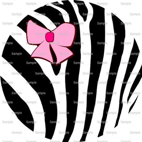 Pink Ribbon w/ Black Zebra Print - Background Birthday - Edible Cake and Cupcake Topper For Birthday's and Parties! - D9963
