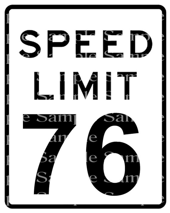 Speed Limit 76th Birthday Sign - 2D Fondant Edible Cake & Cupcake Topper For Birthdays and Parties! - D24335