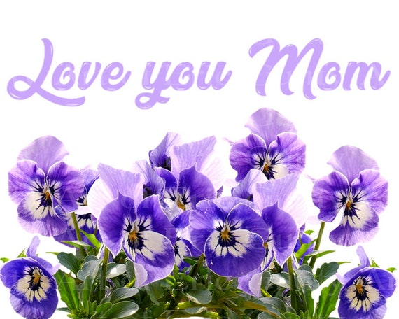 I Love You Mom Flowers Mothers Day - Edible Cake and Cupcake Topper For Birthdays and Parties! - D24013